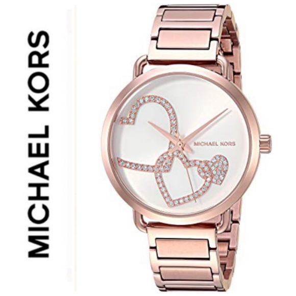 532573745472 NWT authentic MK Portia rose gold tone watch